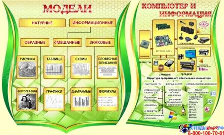 Композиция в кабинет Информатики в золотисто-зеленых тонах 2210*1150мм Изображение #3