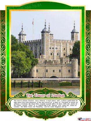 Комплект стендов Достопримечательности Великобритании для кабинета английского языка в тёмно-зелёных тонах 265*350 мм, 280*350 мм Изображение #6