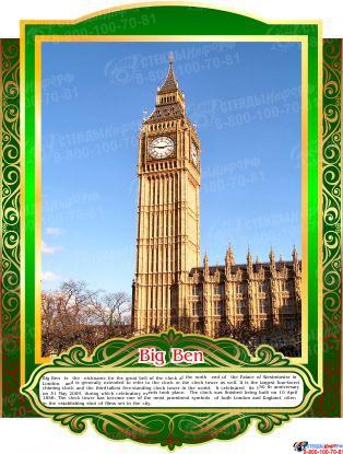Комплект стендов Достопримечательности Великобритании для кабинета английского языка в тёмно-зелёных тонах 265*350 мм, 280*350 мм Изображение #8
