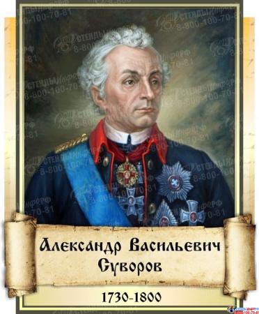 Комплект стендов портретов Великие Русские Полководцы в золотистых тонах  330*400 мм Изображение #9
