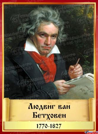 Комплект стендов портретов Великих композиторов 7 шт. в золотисто-красных тонах на темном фоне 220*300 мм Изображение #2