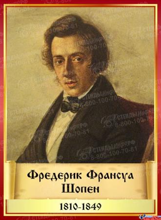 Комплект стендов портретов Великих композиторов 7 шт. в золотисто-красных тонах на темном фоне 220*300 мм Изображение #3