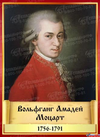 Комплект стендов портретов Великих композиторов 7 шт. в золотисто-красных тонах на темном фоне 220*300 мм Изображение #7