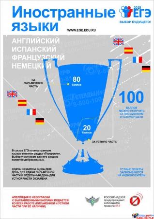Плакат Информационный  Иностранные языки 300*420 мм