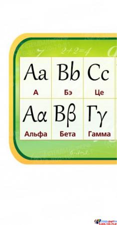 Стенд Таблица с Латинским и Греческим алфавитом в золотисто-зеленых тонах 1950*300мм Изображение #2