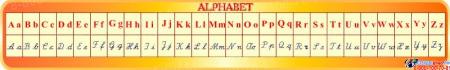 Стенд Алфавит для кабинета французского языка в жёлто-оранжевых тонах 1950*300мм