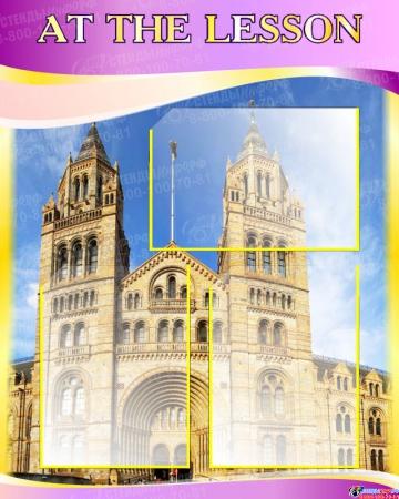 Стенд  And The Lesson для кабинета английского в золотисто-фиолетовых тонах 600*750 мм