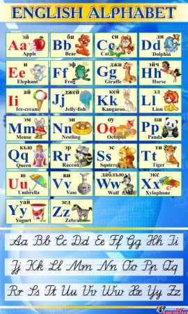 Стенд Английский Алфавит с картинками с синих тонах с прописными буквами 850*500 мм