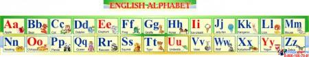 Стенд Английский Алфавит с картинками в зеленых тонах  с английской транскрипцией 250*2000мм