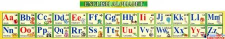 Стенд Английский Алфавит с картинками в желто-зеленых тонах горизонтальный 250*2000мм