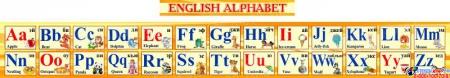Стенд Английский Алфавит с картинками в желтых тонах горизонтальный 250*2000мм