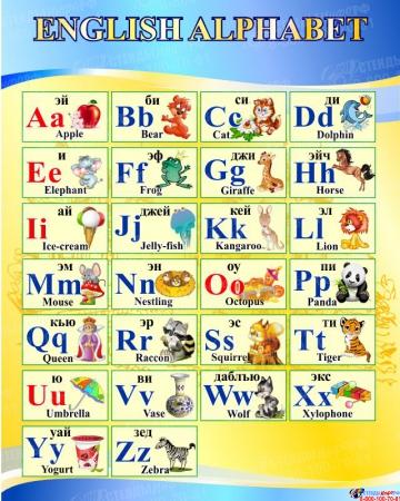 Стенд Английский алфавит в голубых тонах 600*750мм
