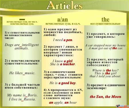 Стенд Articles в кабинет английского языка в золотисто-оливковых тонах 600*500 мм