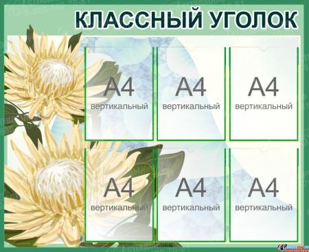 Стенд Биология Классный уголок с цветком в зеленых тонах 1000*810 мм