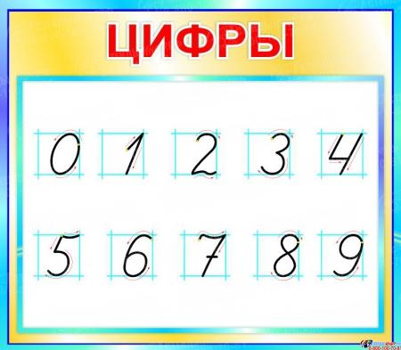 Стенд Цифры для начальной школы в бирюзовых тонах  400*350мм