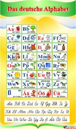 Стенд Das deutsche Alphabet  Алфавит с прописными буквами в кабинет немецкого языка в желто-зеленых тонах  500*850 мм