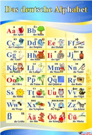 Стенд Das deutsche Alphabet  Алфавит в кабинет немецкого языка в желто-голубых тонах 530*770 мм