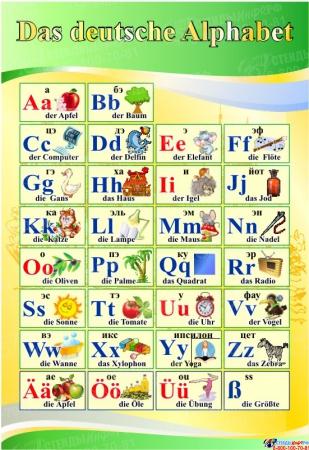 Стенд Das deutsche Alphabet  Алфавит в кабинет немецкого языка желто-зеленый  530*770 мм