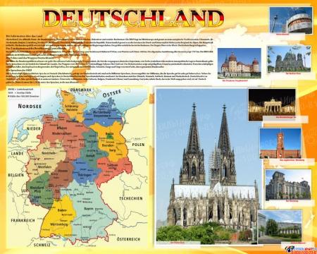 Стенд Deutschland в кабинет немецкого языка на немецком языке 1000*1250мм