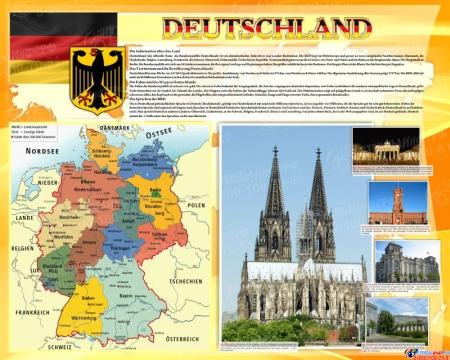 Стенд Deutschland в кабинет немецкого языка на немецком  1000*1250мм