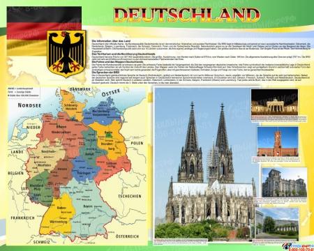 Стенд Deutschland в кабинет немецкого языка  на немецком в желто-зеленых тонах 1000*1250мм