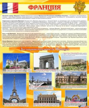 Стенд Достопримечательности Франции желтый 750*600 мм