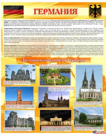 Стенд Достопримечательности Германии желтый 600*750 мм