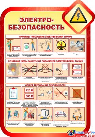 Стенд Электробезопасность в золотисто-красных тонах 690*1000мм