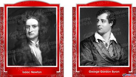 Комплект портретов  Знаменитые Британцы для кабинета английского языка серо-красные 260*350 мм Изображение #3