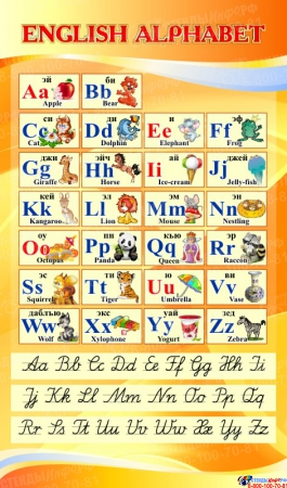 Стенд ENGLISH ALPHABET Алфавит с прописными буквами в кабинет английского языка золотистый 850*500 мм