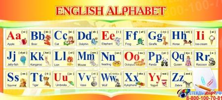 Стенд ENGLISH ALPHABET Алфавит в кабинет английского языка в золотистых тонах 660*300 мм.