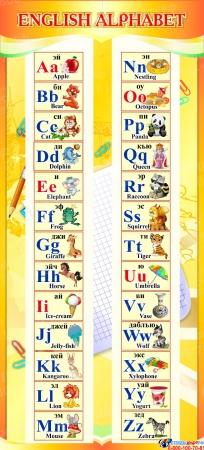 Стенд ENGLISH ALPHABET Алфавит в кабинет английского языка золотистый 300*660 мм.