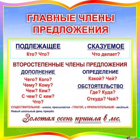 Стенд фигурный Главные члены предложения для начальной школы 550*550 мм