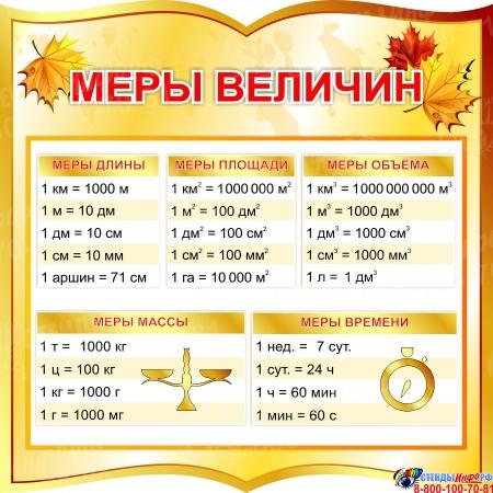 Стенд фигурный Меры величин для начальной школы в золотистых тонах  550*550мм