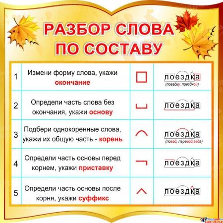 Стенд фигурный Разбор слова по составу для начальной школы в золотистых тонах 550*550 мм