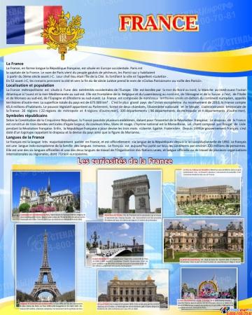 Стенд FRANCE в кабинет французского языка 600*750 мм в золотисто-голубых тонах