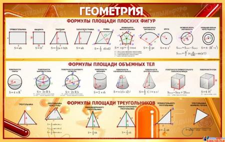 Стенд Геометрия в золотисто-бордовых тонах 840*530 мм