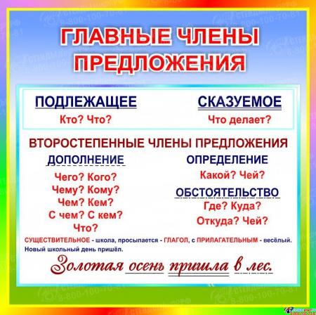 Стенд Главные члены предложения в кабинет русского языка 550*550 мм