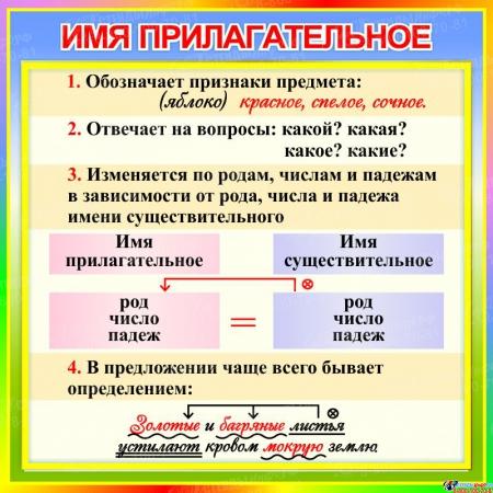 Стенд Имя прилагательное в кабинет русского языка 550*550 мм