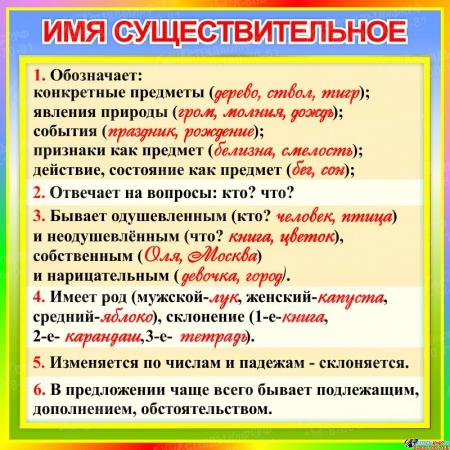 Стенд Имя существительное в кабинет русского языка 550*550 мм