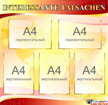 Стенд INTERESSANTE TATSACHEN в кабинет немецкого языка в бордово-золотисто-розовых тонах  1700*770мм Изображение #2