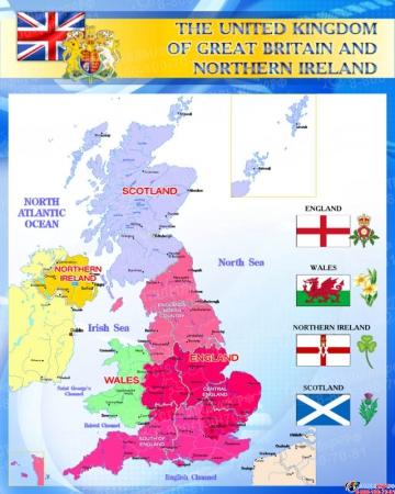 Стенд Карта Великобритании для кабинета английского синий 700*850 мм