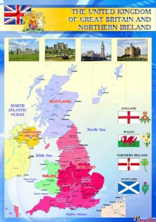 Стенд Карта Великобритании для кабинета английского синий большой