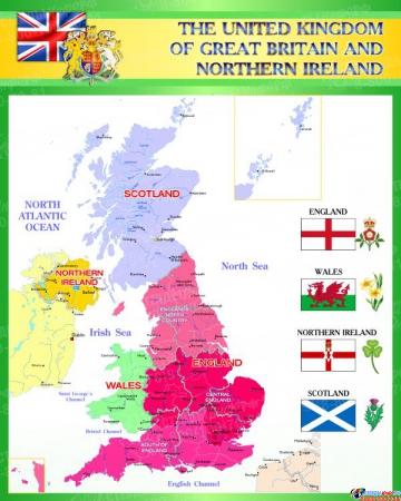 Стенд Карта Великобритании для кабинета английского в зелёных тонах 600*750 мм
