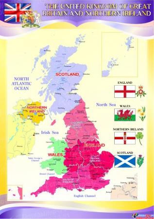 Стенд Карта Великобритании для кабинета английского языка в фиолетовых тонах 750*530 мм