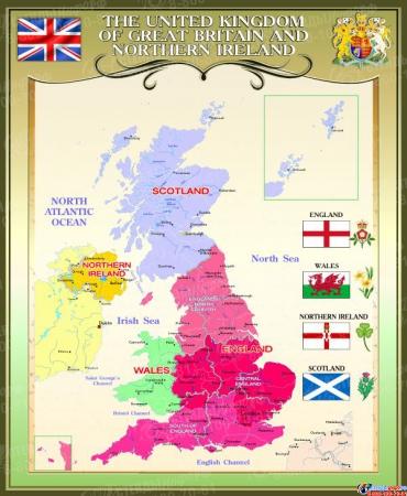 Стенд  Карта Великобритании для кабинета английского языка в золотисто-оливковых 700*850 мм