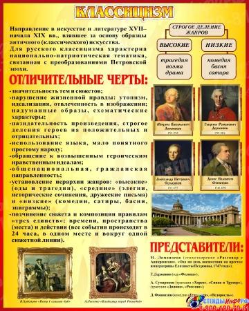 Стенд Классицизм в искусстве и литературе в золотисто-бордовых тонах 400*500 мм