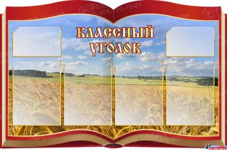 Стенд Классный уголок в виде раскрытой книги на фоне поля 1050* 700 мм