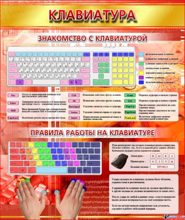 Стенд Клавиатура в золотисто-красных тонах в кабинет информатики 530*630 мм