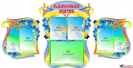Стенд-композиция Классная жизнь в стиле Васильки 1800*920мм